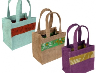 Box bag, jute handles