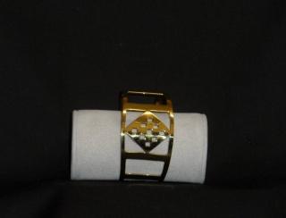 Brass Bangle - geometric pattern