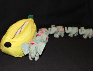 Elephant Family in a Banana